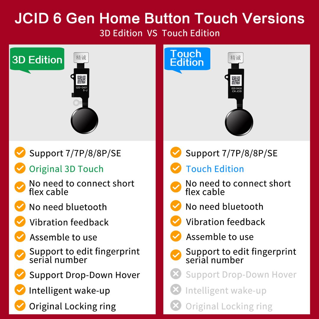 JC Home Button 6th Generation Comparison