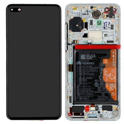 Genuine Huawei P40 LCD Screen & Touch Digitiser With Frame & Battery – 14 Day – Ice White