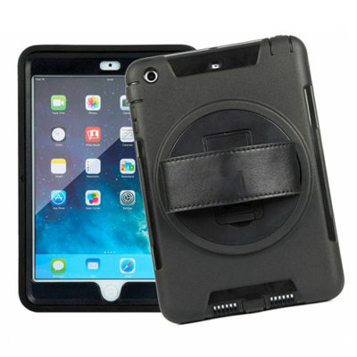 iPad 9.7 2017 / 2018 / Air Heavy Duty Shockproof Case With Swivel Stand & Strap