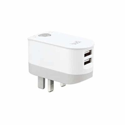 budi 2.4A Twin USB Port Mains Charger With Timer