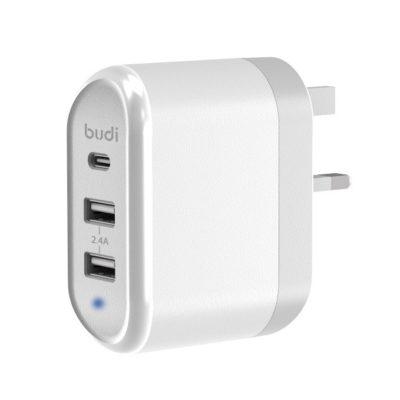 budi 30W USB-C / Twin USB Port Mains Charger
