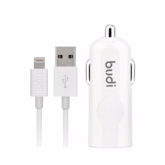 budi 2.4A USB Car Charger & 1.2M Lightning Cable