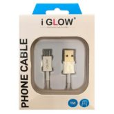 iGlow Premium Quality Micro USB Data Cable - Retail Packed