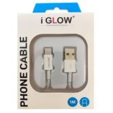 iGlow Premium Quality Type C USB Data Cable - Retail Packed