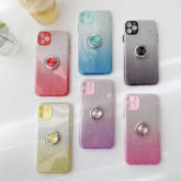 iPhone 12 Dual-Layer Glitter Protective TPU Gel Case & Ring