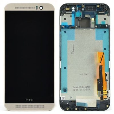 Genuine HTC One M9 LCD Screen & Touch Digitiser With Frame – Silver