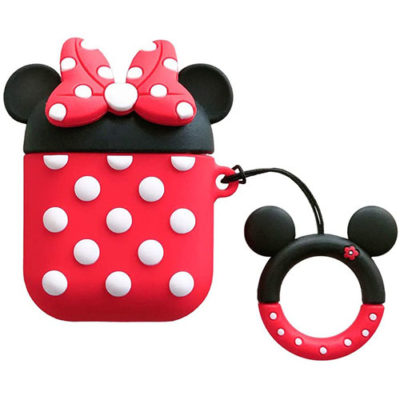 Apple AirPods 1 & 2 Minnie Mouse Silicone Case Protective Cover With Finger Ring Hanger