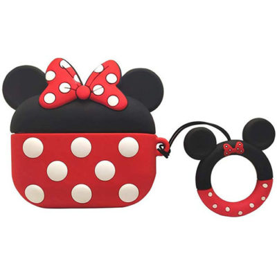 Apple AirPods Pro Minnie Mouse Silicone Case Protective Cover With Finger Ring Hanger