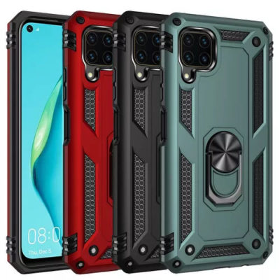 Huawei P40 Lite Hybrid Dual-Layer Armour Case With Magnetic Ring Stand